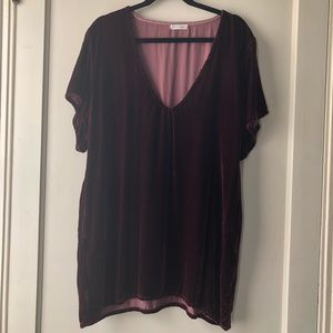 Free People Crushed Velvet T-shirt Dress